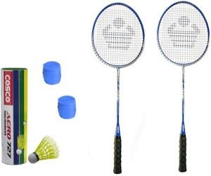 Cosco CBX-400 Badminton Kit- ( 2 Racket, 2 Grip, Aero 727 Nylon Shuttle Cock- Pack of 6 ) G5 Strung