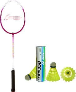 Li-Ning XP 708 Badminton Racket + 1 Mavis 350 Shuttlecock (Pack of 6 pc) G4 Strung