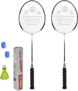 Cosco CB-300 Badminton Kit- ( 2 Racket, 2 Grip, Aero 777 Nylon Shuttle Cock- Pack of 6 ) G5 Strung