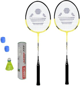 Cosco CB-90 Badminton Kit- ( 2 Racket, 2 Grip, Aero 777 Nylon Shuttle Cock- Pack of 6 ) G5 Strung