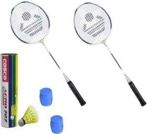 Cosco CB-885 Badminton Kit- ( 2 Racket, 2 Grip, Aero 727 Nylon Shuttle Cock- Pack of 6 ) G5 Strung