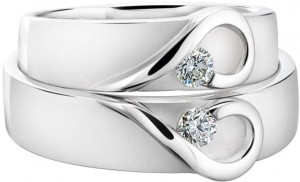 Smbros Couple Band Sterling Silver Cubic Zirconia Platinum Plated