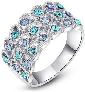 ad246e39a Carina Flourish Blue Crystal Swarovski Crystal 18K White Gold Plated Ring