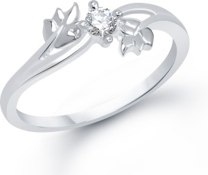 VK Jewels Twin Leaf Alloy Cubic Zirconia Rhodium Plated Ring