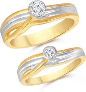 8d08384e468 VK Jewels Single Stone Couple Alloy Cubic Zirconia 18K Yellow Gold Plated  Ring Set