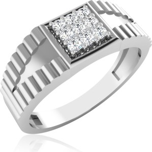 d3b92a5b7 Evara Diamonds Lucas Men's Ring Sterling Silver Swarovski Crystal Platinum  Plated Ring