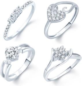Sukkhi Alloy Cubic Zirconia Rhodium Plated Ring