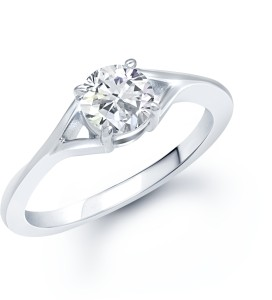 VK Jewels Fancy (CZ) Solitaire Alloy Cubic Zirconia Rhodium Plated Ring
