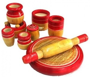 Kalaplanet Eco Friendly Red Wooden Toy Kitchen Set Best Price In