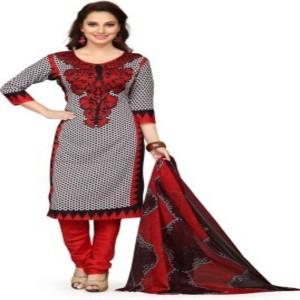 KRAZZYFORLOOK Cotton Polyester Blend Printed Semi-stitched Salwar Suit Dupatta Material