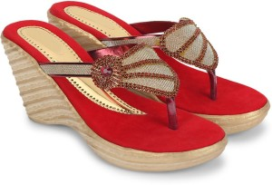 Star Style Women Red Wedges