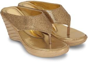 Star Style Women Golden Wedges