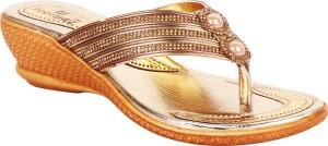 Footshez Women Golden Wedges