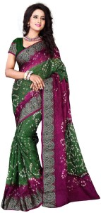 diwali special Self Design Bandhani Art Silk Saree
