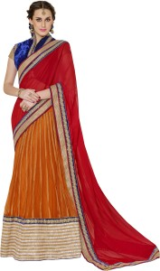 e0fc61c430 MAHOTSAV Self Design Lehenga Saree Chiffon Net Saree Red Orange Best ...