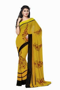 8e2457c9cf Ishin Printed Fashion Synthetic Georgette Saree Yellow Best Price in ...