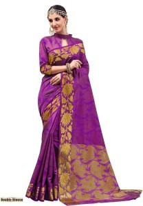 5ede974993 Taanshi Self Design Kanjivaram Tussar Silk Saree Purple Best Price ...