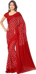 bf81c080bf Goodfeel Polka Print Fashion Chiffon Saree Red Best Price in India ...