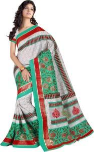 Saran Floral Print, Self Design, Embellished Bollywood Art Silk Saree
