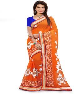 cbbcb6853f67b Khwaab Enterprise Embroidered Fashion Georgette Saree ( Orange )