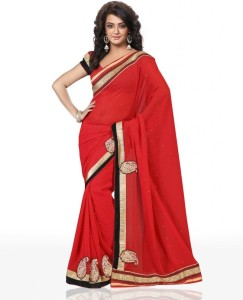 f0b0ca3e2cd09 Chirag Sarees Solid Bollywood Georgette Saree Red Best Price in ...