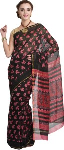 4c2d2fccc99cb Craftghar Floral Print Chanderi Cotton Saree Pack of 27 Pink Black ...