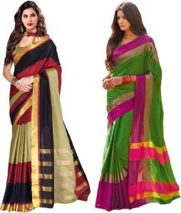 Glory Sarees Striped Chanderi Handloom Silk Cotton Blend Saree