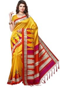 91a322455 E Vastram Printed Mysore Art Silk Saree Yellow Best Price in India ...