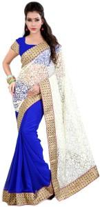 40b01006b Indian E Fashion Self Design Bollywood Georgette Saree ( White Blue )