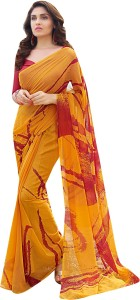 bb1e8d38075 Shaily Retails Printed Fashion Georgette Saree ( Mustard Yellow )