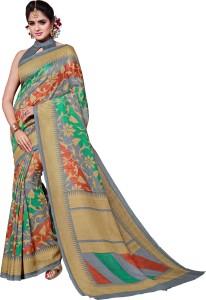 Sunaina Printed Bhagalpuri Silk Cotton Blend Saree