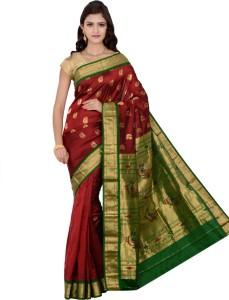 b7e662cc0f Indian Silks Self Design Paithani Handloom Pure Silk Saree Maroon ...