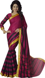 Neshkaar Striped, Checkered, Solid, Self Design, Plain Bollywood Cotton Saree