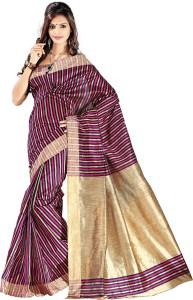Vastrakala Striped Banarasi Cotton, Silk Saree