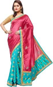 64acc5fe0eb RB Sarees Embroidered Fashion Pure Silk Saree Blue Pink Magenta ...