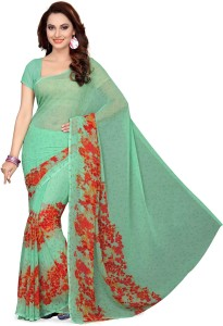 b3ef9199de Ishin Printed Fashion Synthetic Georgette Saree Green Best Price in ...