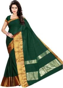 1ad526d4e0e3ed Cozee Shopping Solid Floral Print Fashion Silk Cotton Saree Green ...