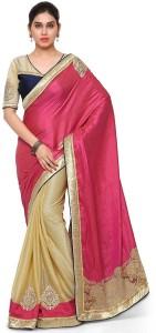 effebdb752389e Desi Butik Embroidered Fashion Silk Lycra Saree Pink Beige Best ...