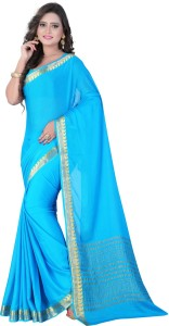 E-Vastram Solid Bollywood Crepe, Chiffon Saree