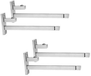 Smart Shophar Stainless Steel Glass Shelf Bracket F Type Square 4 Pc 4 Inches::6 mm 10.16cm X 5.08cm Shelf Bracket