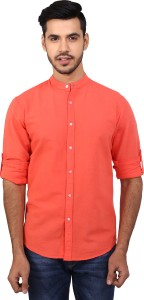 Dennis Lingo Men's Solid Casual Orange Shirt
