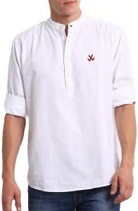 Lafantar Men's Solid Casual White Shirt