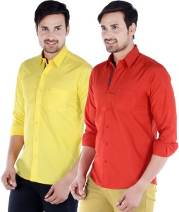 45e7079fc37 S9 Men s Solid Casual Yellow Red Multicolor Shirt Pack of 2 Best ...