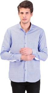 Tag 7 Men Checkered Casual Blue Shirt
