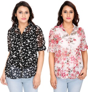 2 Day Women's Floral Print, Printed Casual Multicolor Shirt