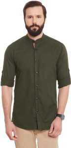 Wild Hunk Men's Solid Casual Dark Green Shirt