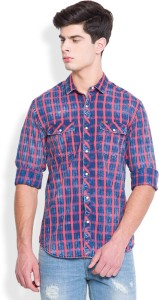 Locomotive Men's Checkered Casual Dark Blue, Red Shirt