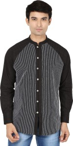Reevolution Men's Embroidered Casual Black, White Shirt