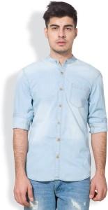 Highlander Men's Solid Casual Denim Light Blue Shirt