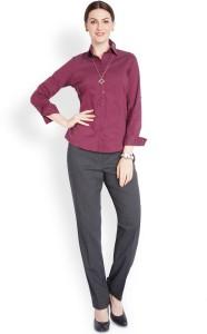 Park Avenue Women S Solid Formal Purple Shirt